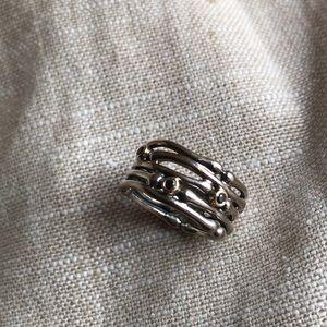 Pandora ring black diamonds/ gold/ sterling silver